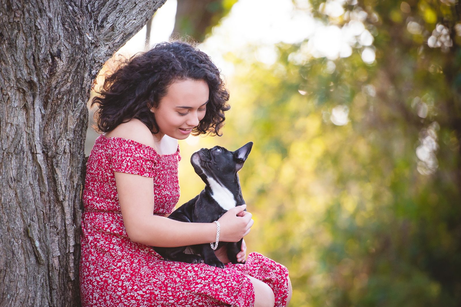 Girl and french bulldog puppy